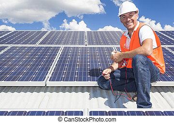 técnico, painel solar
