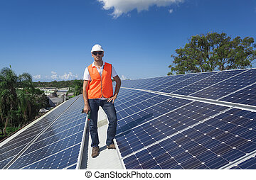 técnico, paneles, solar