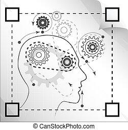 técnico, planificação, -, ilustração