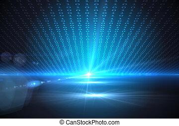 técnico, plano de fondo, con, código binario