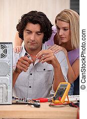 técnico, reparación, computadora