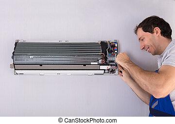 técnico, reparar, condicionador ar