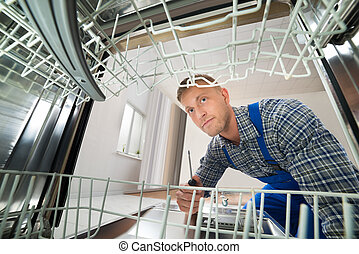 técnico, reparar, dishwasher