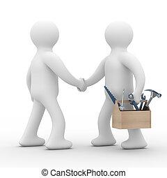 técnico, support., en línea directa, service., aislado, 3d,...
