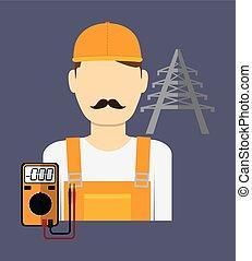 técnico, vector, hombre, eléctrico, ilustración