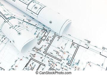 técnico, y, ingeniería, dibujos, planos, rollos, de, arquitectura, planos