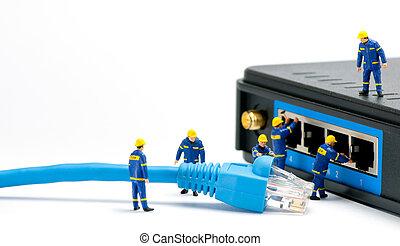 técnicos, conectando, rede, cabo