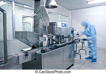 técnicos, trabalhando, em, a, farmacêutico, linha produção