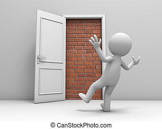 téglák, ajtó