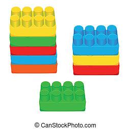 téglák, játékszer, gyerekek, műanyag