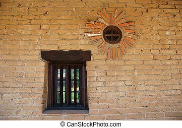tégla, 2, windows, fal, &