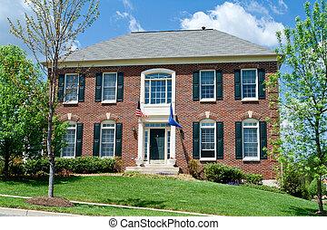 tégla, egyes család épület, otthon, külvárosi, md, usa