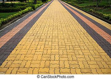 tégla walkway
