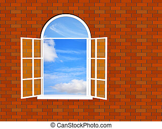 téglafal, noha, egy, ablak