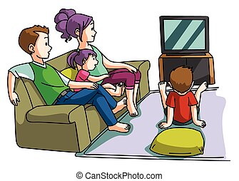télé regarde, temps famille