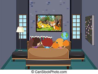 télé vivre, enfants, salle, regarder