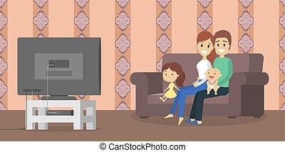 télé vivre, salle, famille, regarder