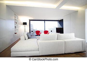 télé vivre, salle moderne, équipement