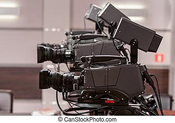 télécaméra, studio, trois