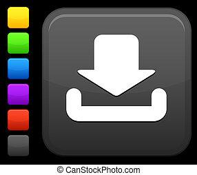 téléchargement, bouton, carrée, icône, internet