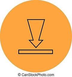 téléchargement, bouton, icône