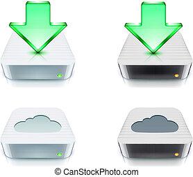 téléchargement, concept, stockage, nuage