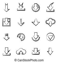 téléchargement, ensemble, icônes