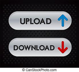 téléchargement, envoyer un fichier par transfert de données en une ordinateur, icônes