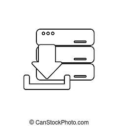 téléchargement, flèche, de, numérique, concept
