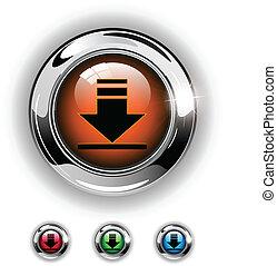 téléchargement, icône, bouton