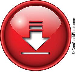 téléchargement, icône, button.
