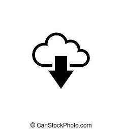 téléchargement, plat, vecteur, nuage, icône
