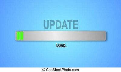 téléchargement, update., indicateur, bas