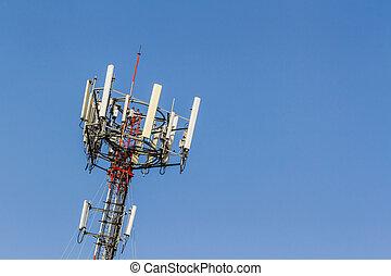 télécommunication, antenne, téléphone portable, radio, tower.
