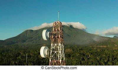 télécommunication, tour communication, asie, antenne