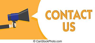télécommunications, photo, signe, rendre, par, message, haut-parleur, groupe, service, parole, tenue, texte, conceptuel, porte voix, bulle, parler, loud., projection, costumer, homme, us., personne, contact