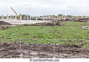 télégraphier clôture, site, construction, au-dessus, vue