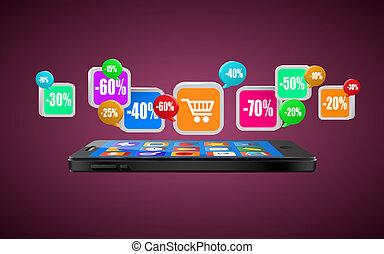 téléphone, à, app, icons., mobile, buying., achat internet, ou, commerce, concept.