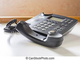 téléphone, à, récepteur, fermé, crochet