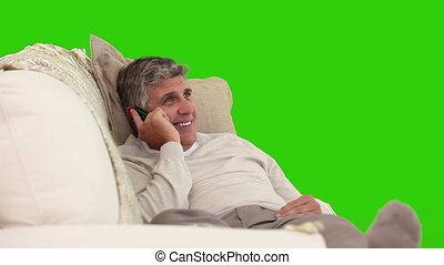 téléphone, âge, homme, rire, milieu