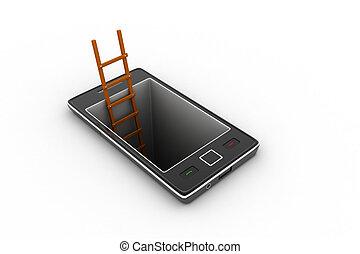 téléphone, échelle, intelligent