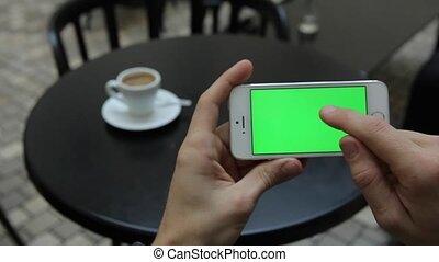 téléphone, écran, blanc vert