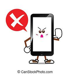 téléphone, écran, dessin animé, intelligent, sourire