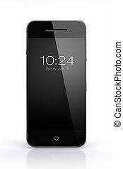 téléphone, écran, noir, blanc, intelligent