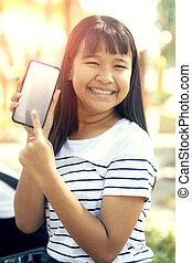 téléphone, émotion, intelligent, figure, écran, adolescent, blanc, sourire, bonheur, exposition, asiatique, toothy