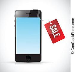 téléphone, étiquette, conception, vente, illustration