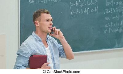 téléphone., étudiant, conversation, jeune