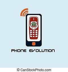 téléphone, évolution, conception, plat