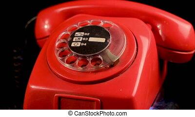 téléphone, 1970's, rotation, vendange, fixe, display., landline, grand plan