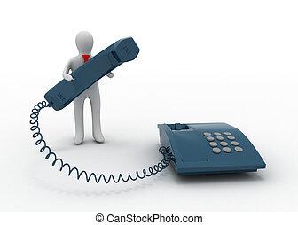 téléphone, 3d, homme